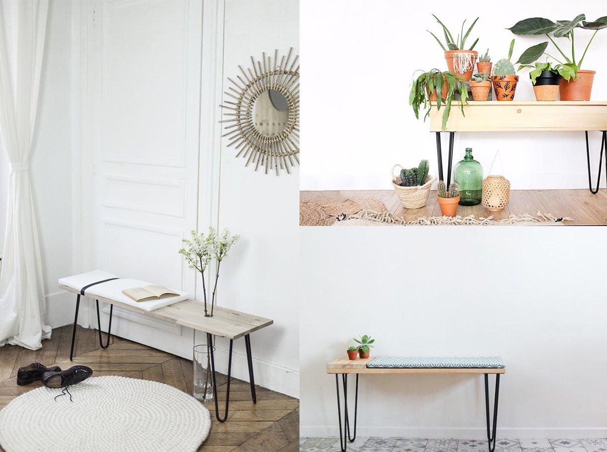 cr er un joli banc d 39 int rieur avec des hairpin legs ripaton ripaton. Black Bedroom Furniture Sets. Home Design Ideas