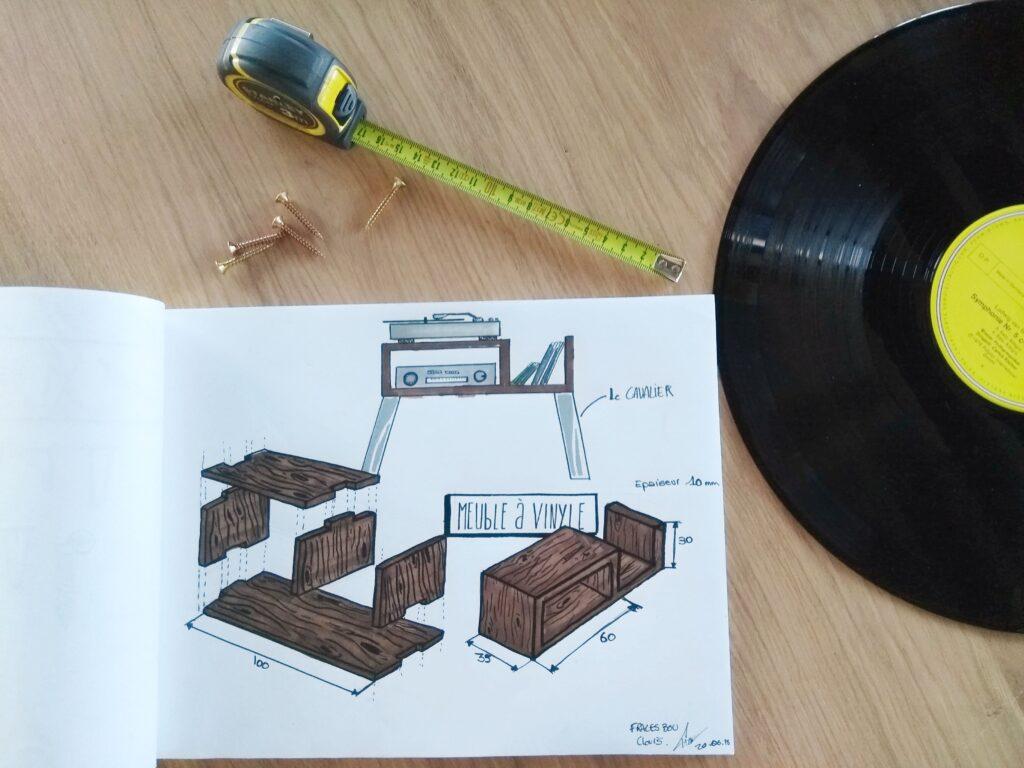 Schéma pour meuble tourne-disque ripaton