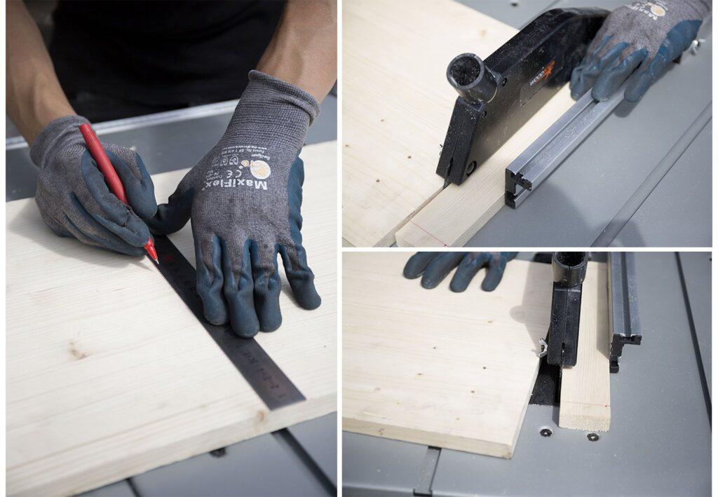 Découpage des planches pour meuble DIY pour tourne-disque RIPATON
