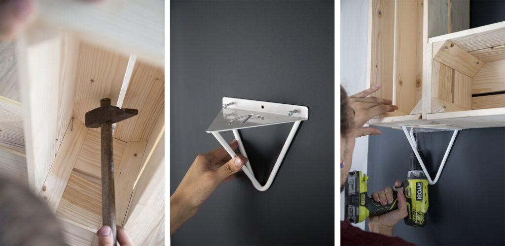 Étapes de création pour étagère en caisse en bois DIY