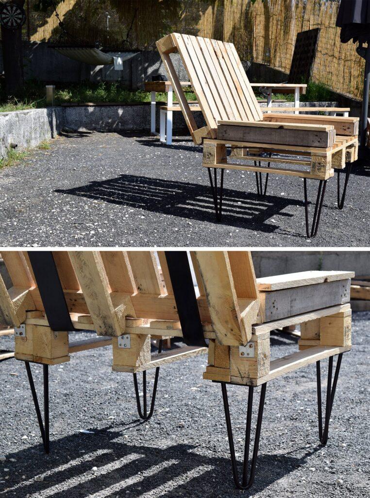 Fauteuil DIY en palette et pieds en acier RIPATON