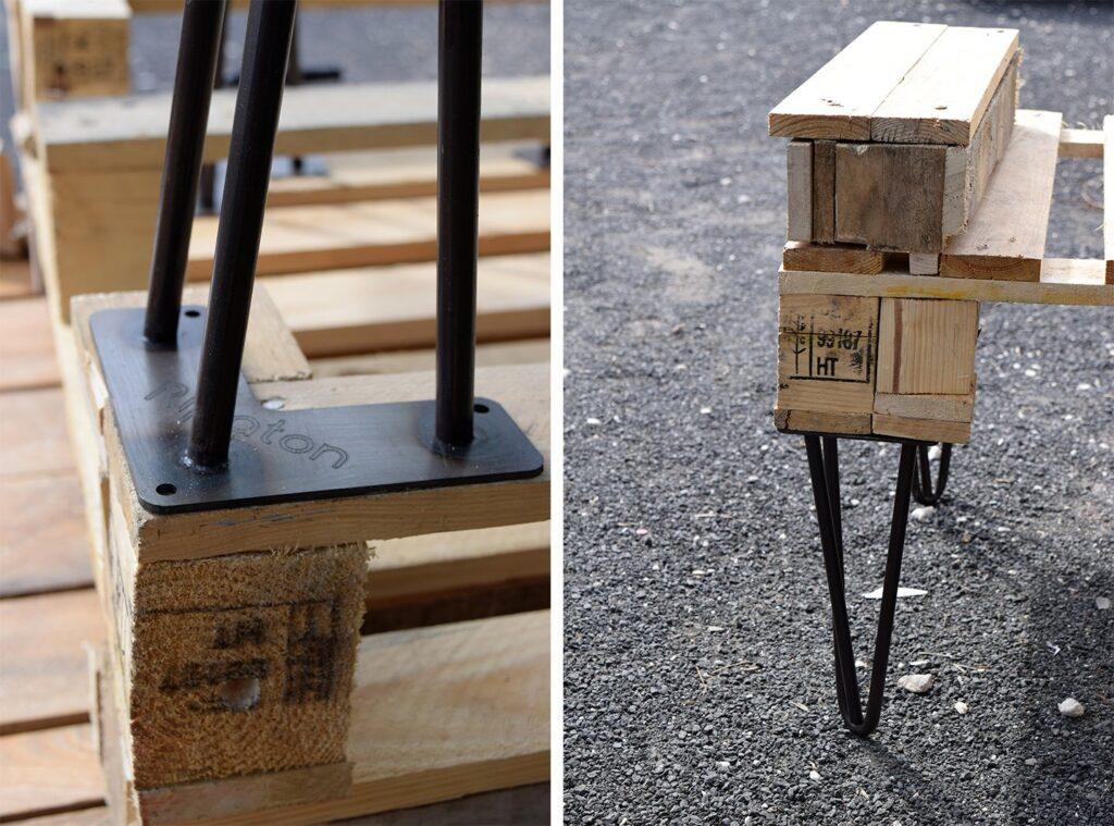 Fixation des pieds ripaton sur fauteuil en palette DIY