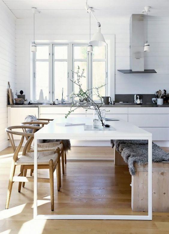 exemple de table blanche avec plateau laqué blanc et des pieds intrépide blancs