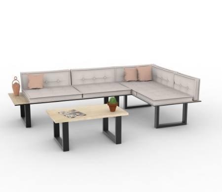 canapé DIY en lame de terrasse et pieds de table en acier