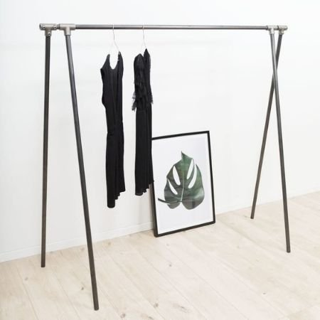 Portant à vêtements - Flexible - acier brut