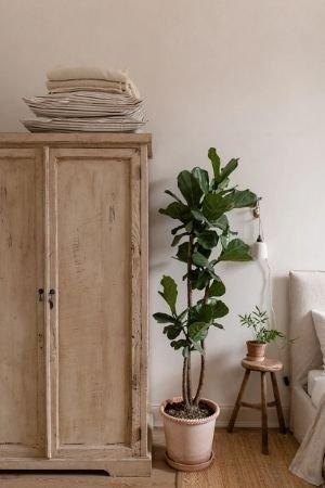 exemple photo armoire en bois à côté du lit